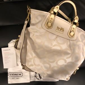 Coach Signature Sateen White Handbag